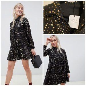 Black & Gold Star Petite Button Shirt Dress